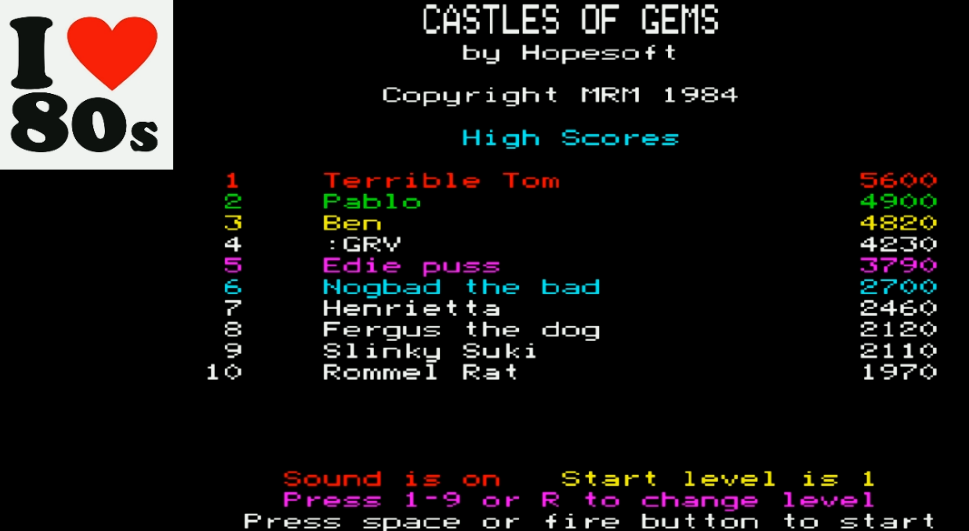 Giorvam: Castle Of Gems (BBC Micro Emulated) 4,230 points on 2018-01-09 12:47:34