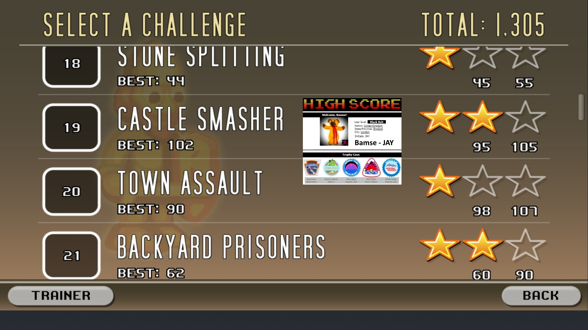 Bamse: Castle Smasher: Challenges: 21 Backyard Prisoners (Android) 62 points on 2019-09-05 03:11:44