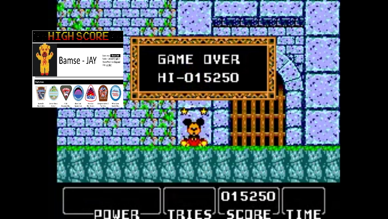 Bamse: Castle of Illusion Starring Mickey Mouse (Sega Game Gear Emulated) 15,250 points on 2019-11-05 17:28:17