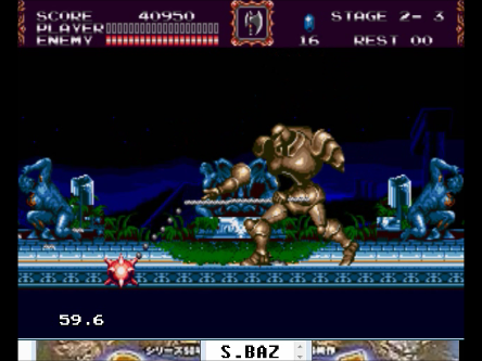 S.BAZ: Castlevania: Bloodlines (Sega Genesis / MegaDrive Emulated) 40,950 points on 2016-06-22 22:45:45