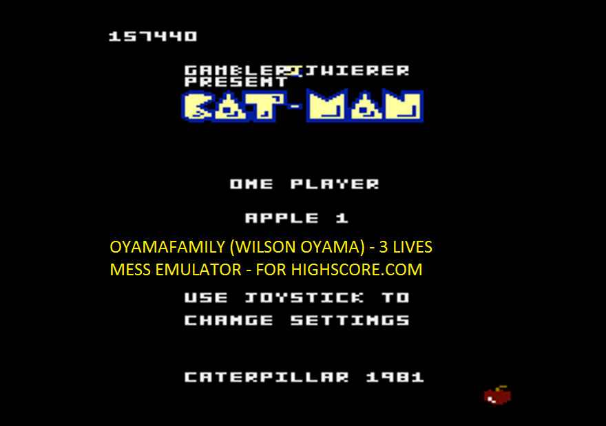 oyamafamily: Caterpiller / Cat-Man: Apple 1 Start (Atari 7800 Emulated) 157,440 points on 2016-02-15 17:45:48