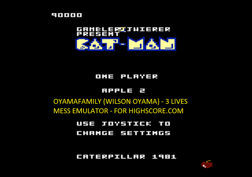 oyamafamily: Caterpiller / Cat-Man: Apple 2 Start (Atari 7800 Emulated) 90,000 points on 2016-02-15 17:46:00