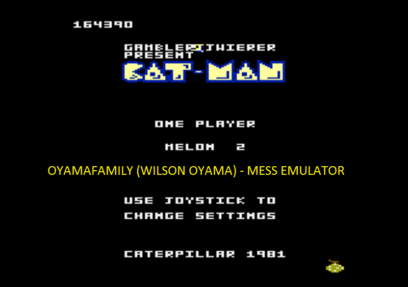 oyamafamily: Caterpiller / Cat-Man: Melon 2 Start (Atari 7800 Emulated) 164,390 points on 2016-04-10 06:18:18