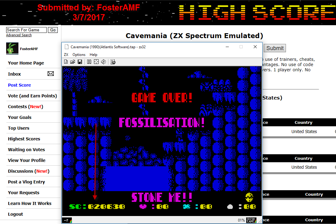 FosterAMF: Cavemania (ZX Spectrum Emulated) 20,630 points on 2017-03-07 03:05:38