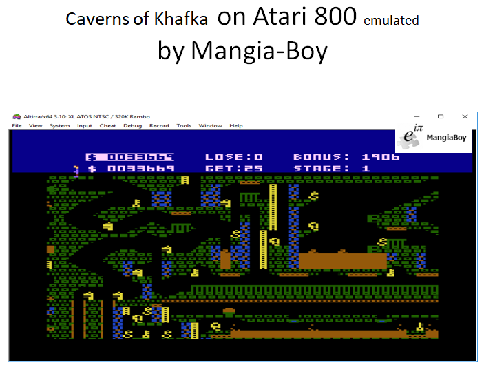 MangiaBoy: Caverns Of Khafka (Atari 400/800/XL/XE Emulated) 33,669 points on 2018-10-25 16:40:06