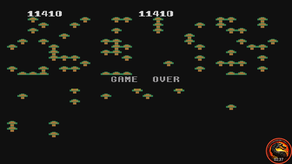 omargeddon: Centipede [5200] [Easy] (Atari 400/800/XL/XE Emulated) 11,410 points on 2020-05-24 17:24:57