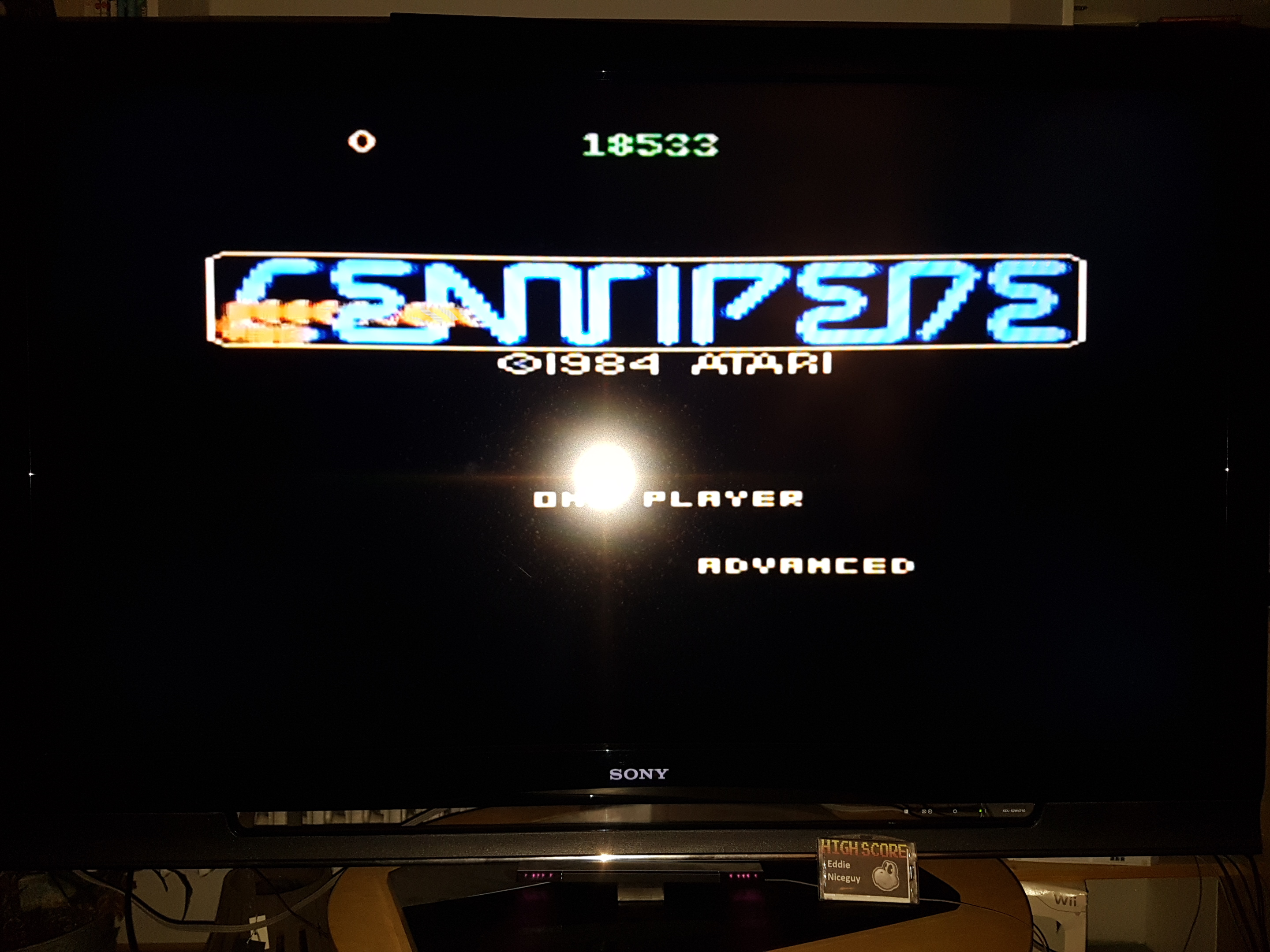 EddieNiceguy: Centipede: Advanced (Atari 7800 Emulated) 18,533 points on 2019-11-22 16:54:24