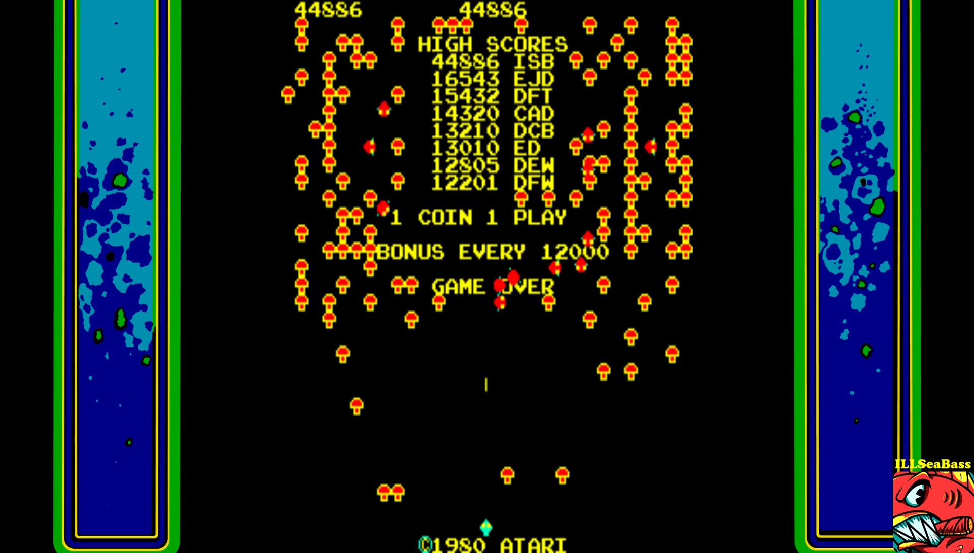 ILLSeaBass: Centipede (Arcade Emulated / M.A.M.E.) 44,886 points on 2017-07-15 23:17:21