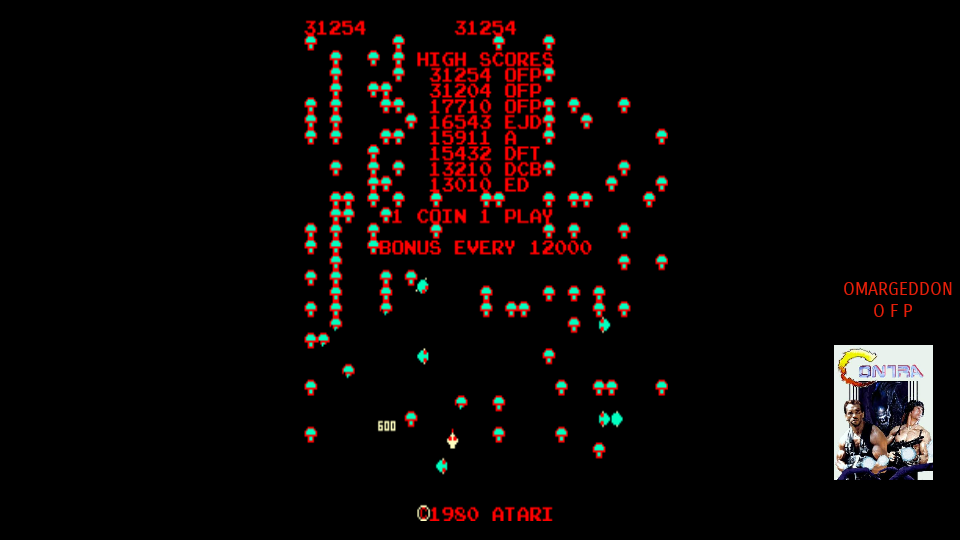 omargeddon: Centipede (Arcade Emulated / M.A.M.E.) 31,254 points on 2017-09-06 10:56:35