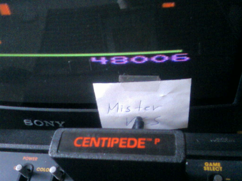 MisterVCS: Centipede (Atari 2600) 48,006 points on 2016-02-14 01:56:15