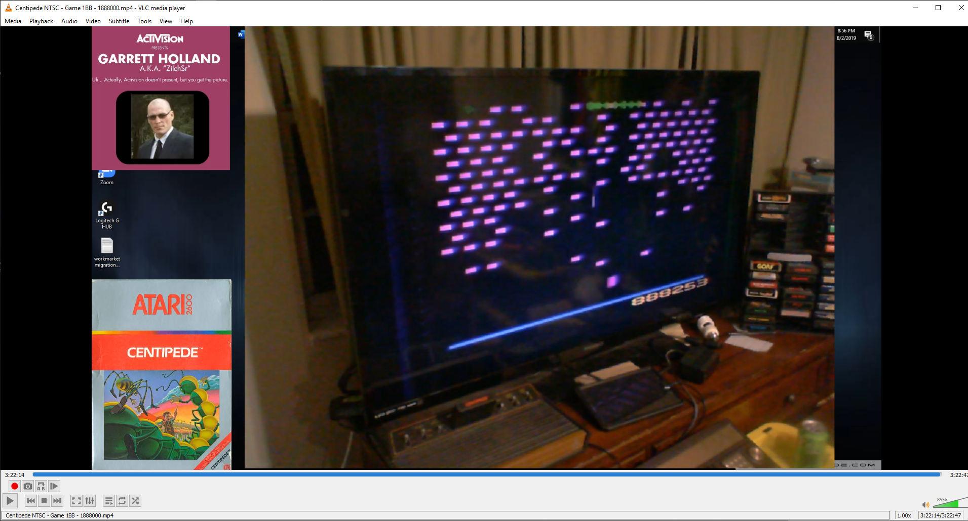 ZilchSr: Centipede (Atari 2600) 1,888,253 points on 2019-08-08 20:43:33