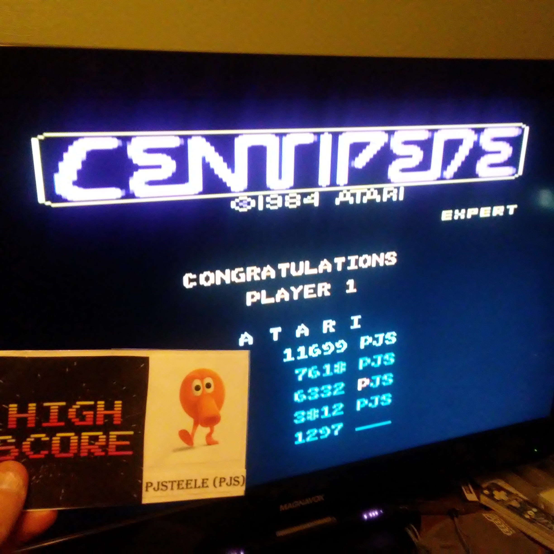 Pjsteele: Centipede: Expert (Atari 7800 Emulated) 11,699 points on 2017-10-15 12:39:43