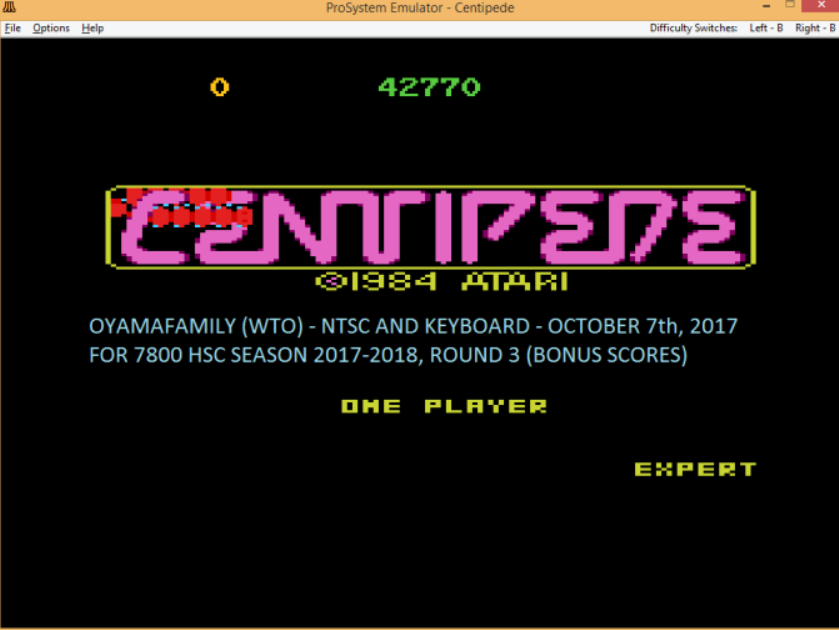 oyamafamily: Centipede: Expert (Atari 7800 Emulated) 42,770 points on 2017-11-03 19:44:45