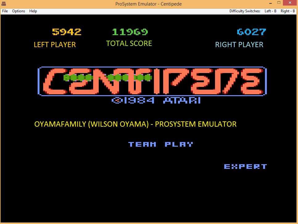 oyamafamily: Centipede [Expert] [Team Play] (Atari 7800 Emulated) 11,969 points on 2017-01-21 15:26:41