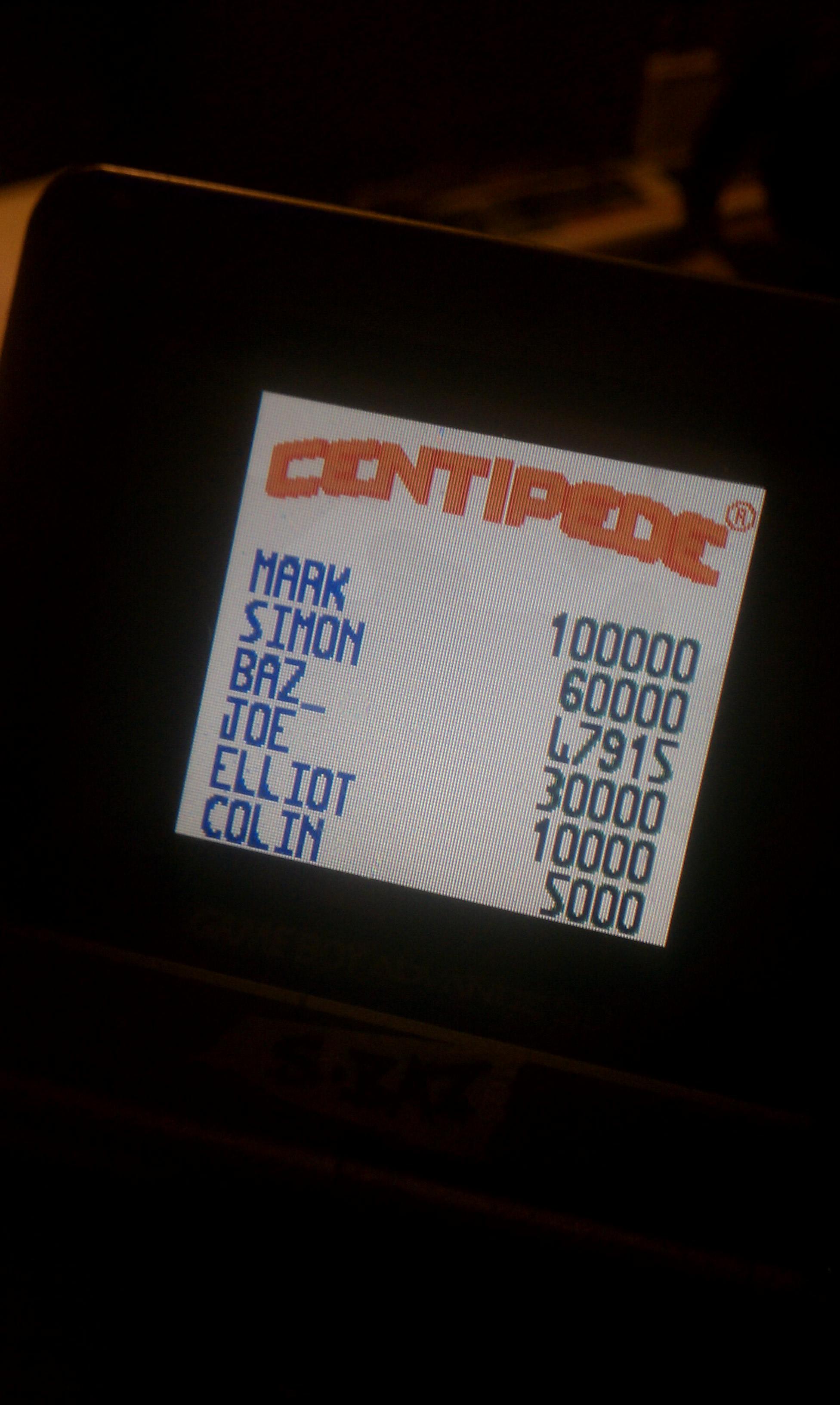 S.BAZ: Centipede (Game Boy Color) 47,915 points on 2020-07-14 18:46:16