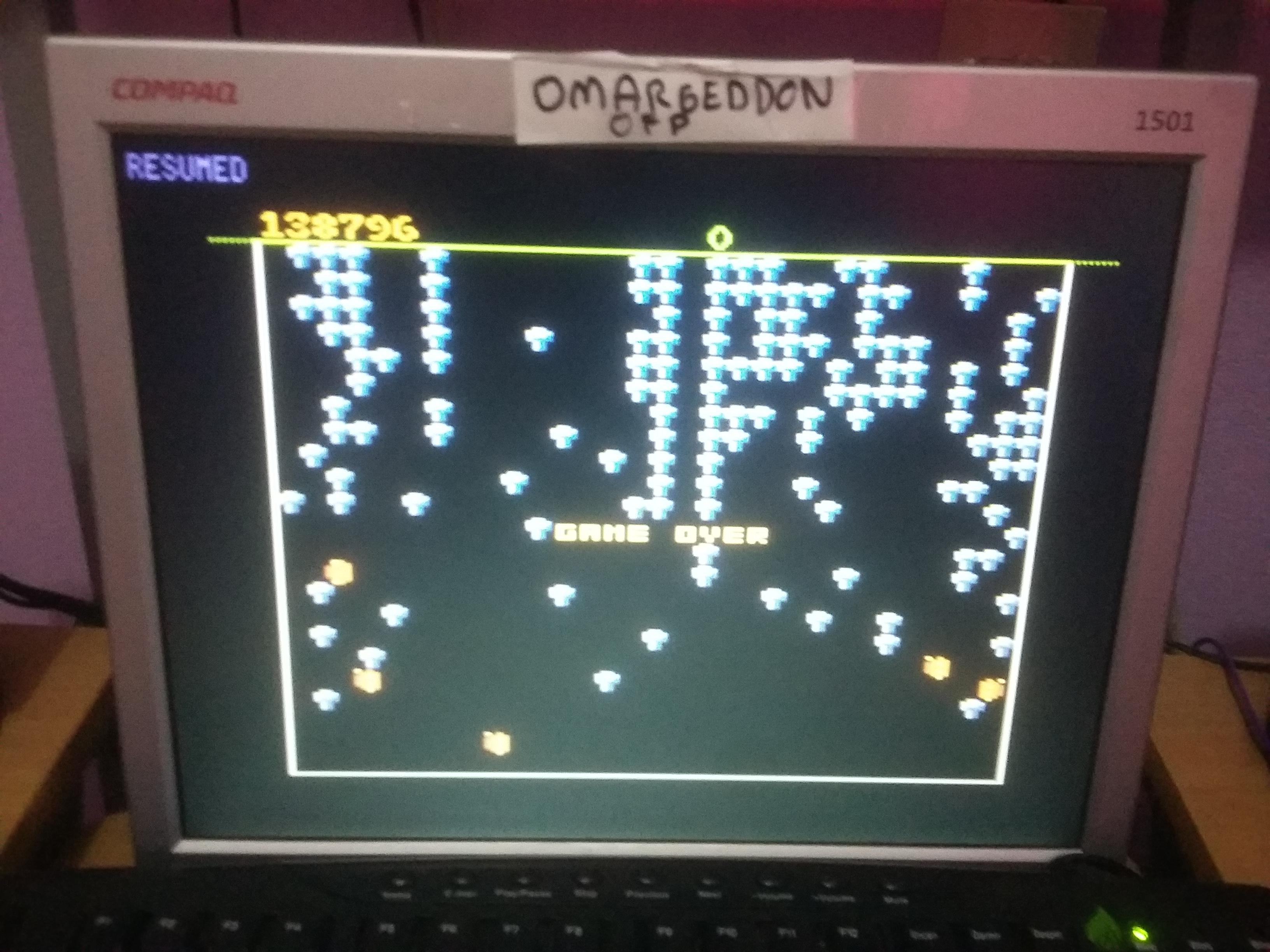 omargeddon: Centipede: Novice (Atari 7800 Emulated) 138,796 points on 2017-01-09 10:35:57