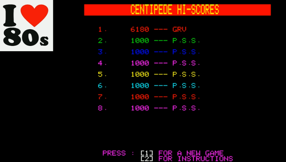 Giorvam: Centipede [PSS] (Oric-1 Emulated) 6,180 points on 2018-01-26 02:55:31
