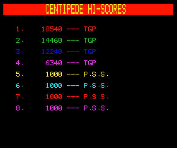 80sChips: Centipede [PSS] (Oric-1 Emulated) 18,540 points on 2020-07-19 04:49:35
