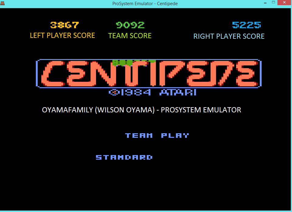 oyamafamily: Centipede [Standard] [Team Play] (Atari 7800 Emulated) 9,092 points on 2016-07-27 17:11:43