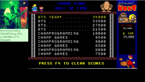 bensweeneyonbass: Champ Kong: Classic / Arcade (PC Emulated / DOSBox) 34,900 points on 2016-04-20 12:00:36