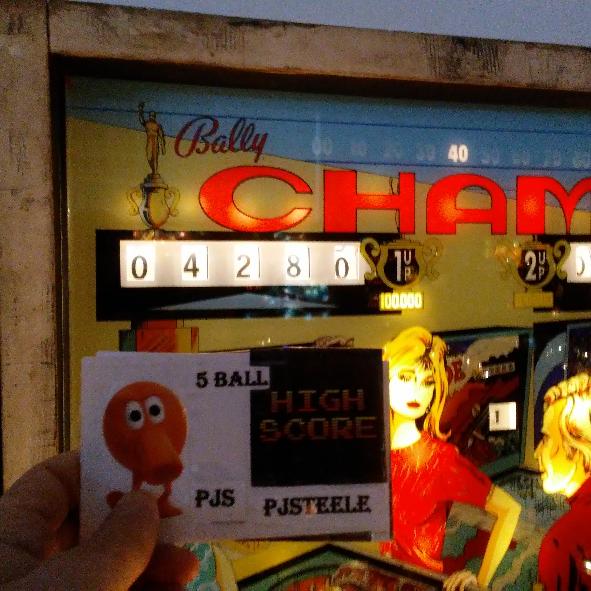 Pjsteele: Champ (Pinball: 5 Balls) 104,280 points on 2018-03-03 22:47:36