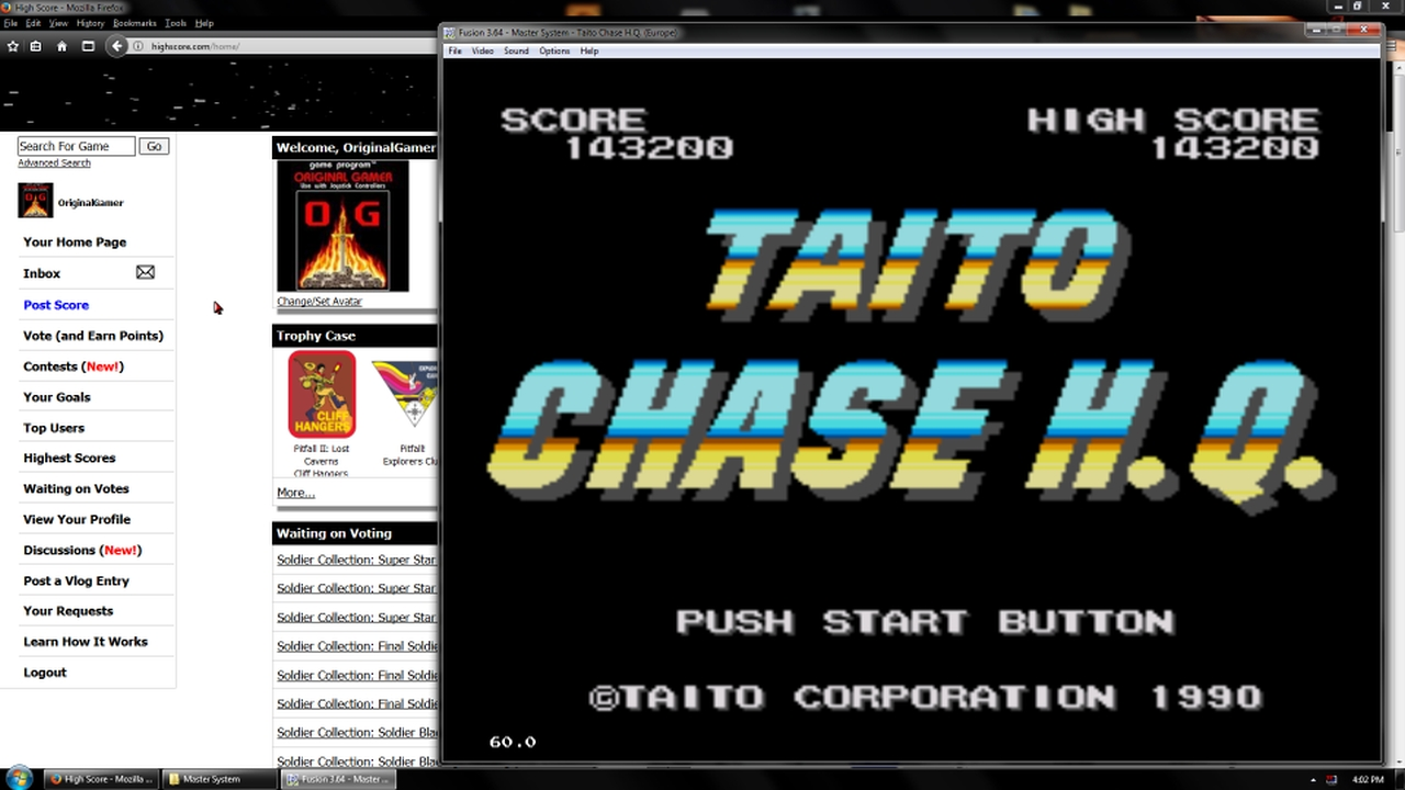 OriginalGamer: Chase HQ (Sega Master System Emulated) 143,200 points on 2018-02-19 18:41:07