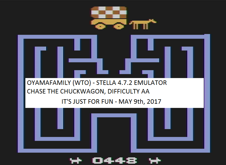 oyamafamily: Chase the Chuck Wagon (Atari 2600 Emulated Expert/A Mode) 448 points on 2017-05-15 18:49:46