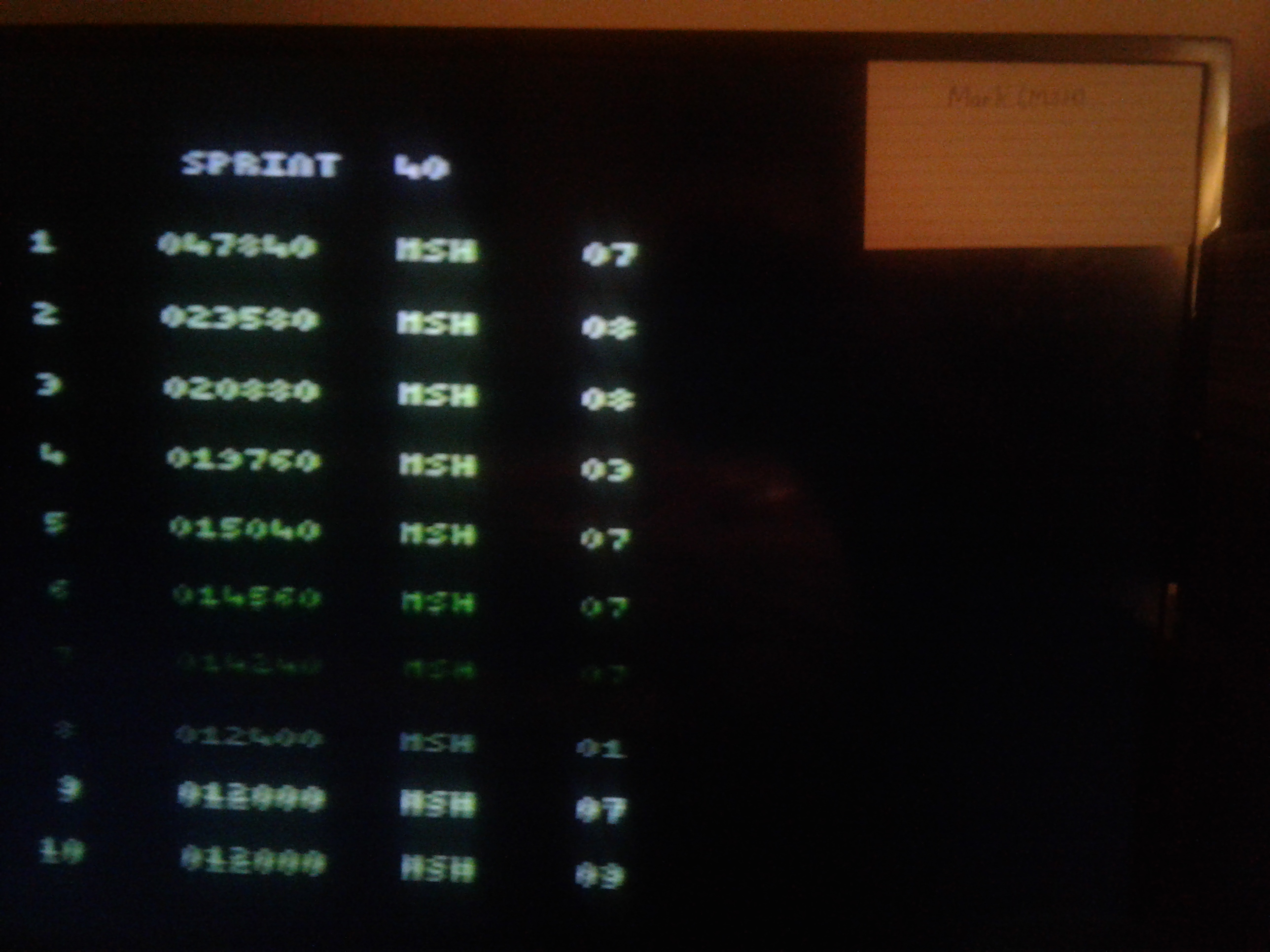 Mark: Chetiry: Sprint 40 (Atari 2600 Novice/B) 47,840 points on 2019-02-04 23:54:43