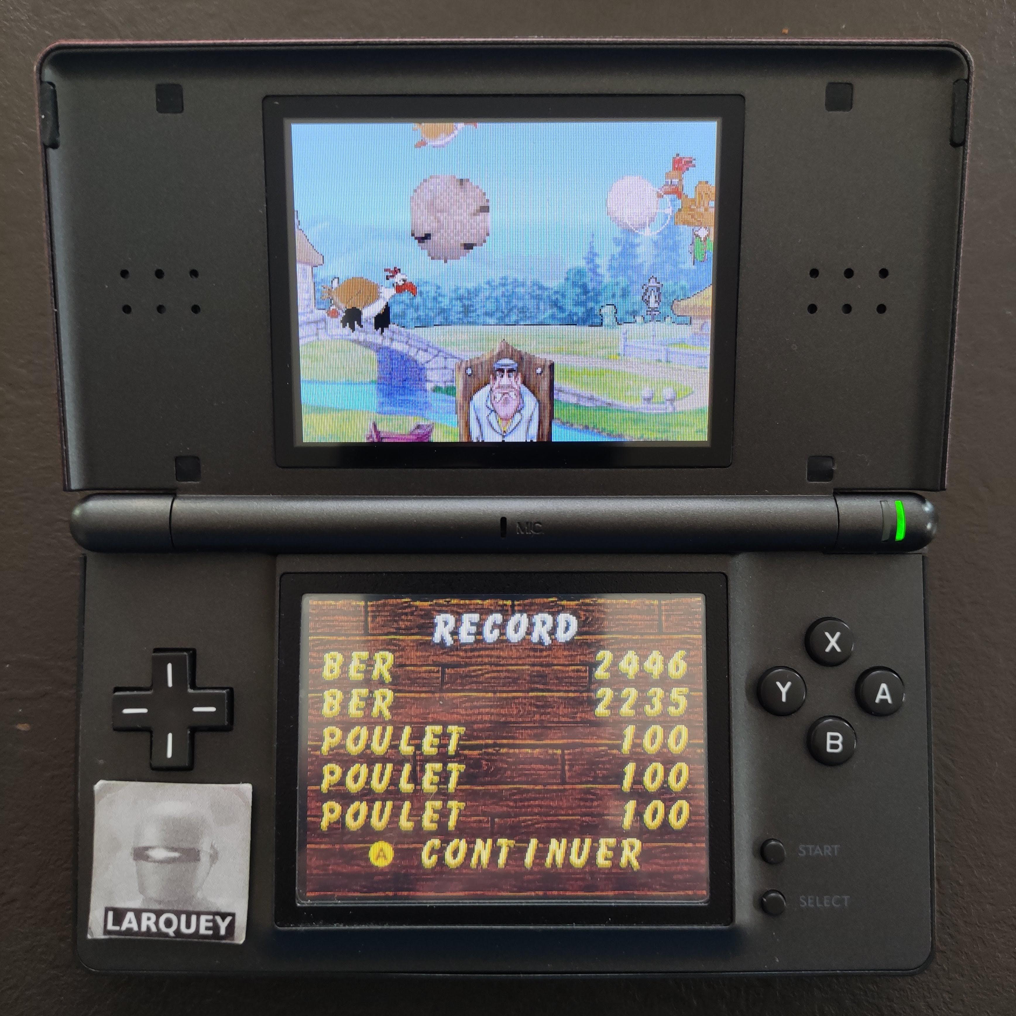 Larquey: Chicken Shoot [Arcade: Normal] (Nintendo DS) 2,446 points on 2020-09-27 03:27:32