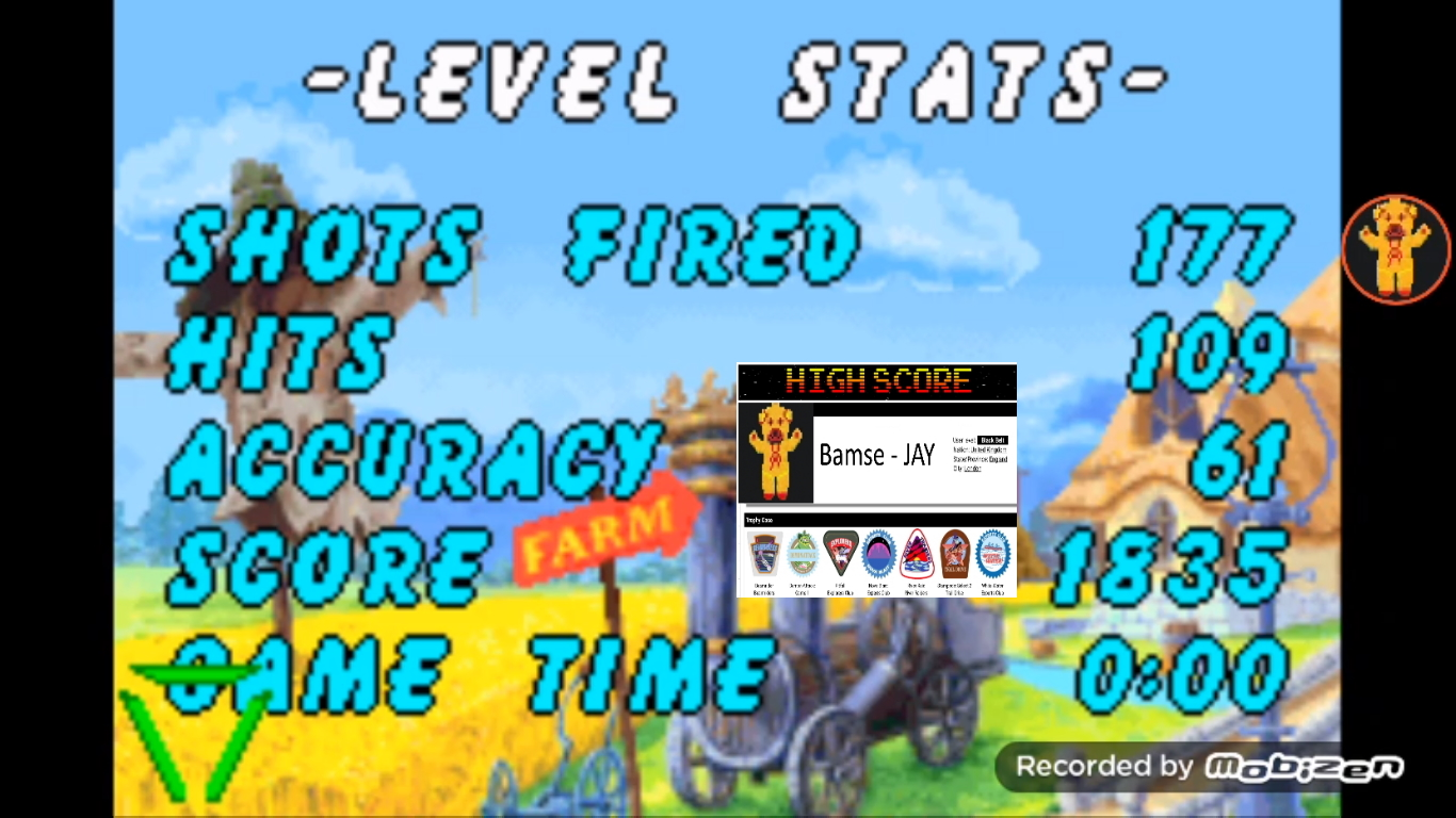 Bamse: Chicken Shoot [Classic: Hard] (GBA Emulated) 1,835 points on 2019-10-31 15:01:31