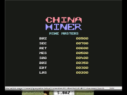 S.BAZ: China Miner (Commodore 64 Emulated) 900 points on 2016-06-11 19:08:58