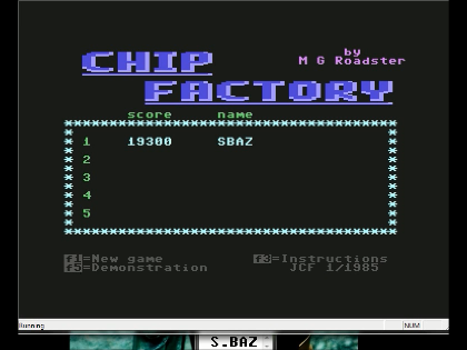 S.BAZ: Chip Factory (Commodore 64 Emulated) 19,300 points on 2016-06-09 05:20:41