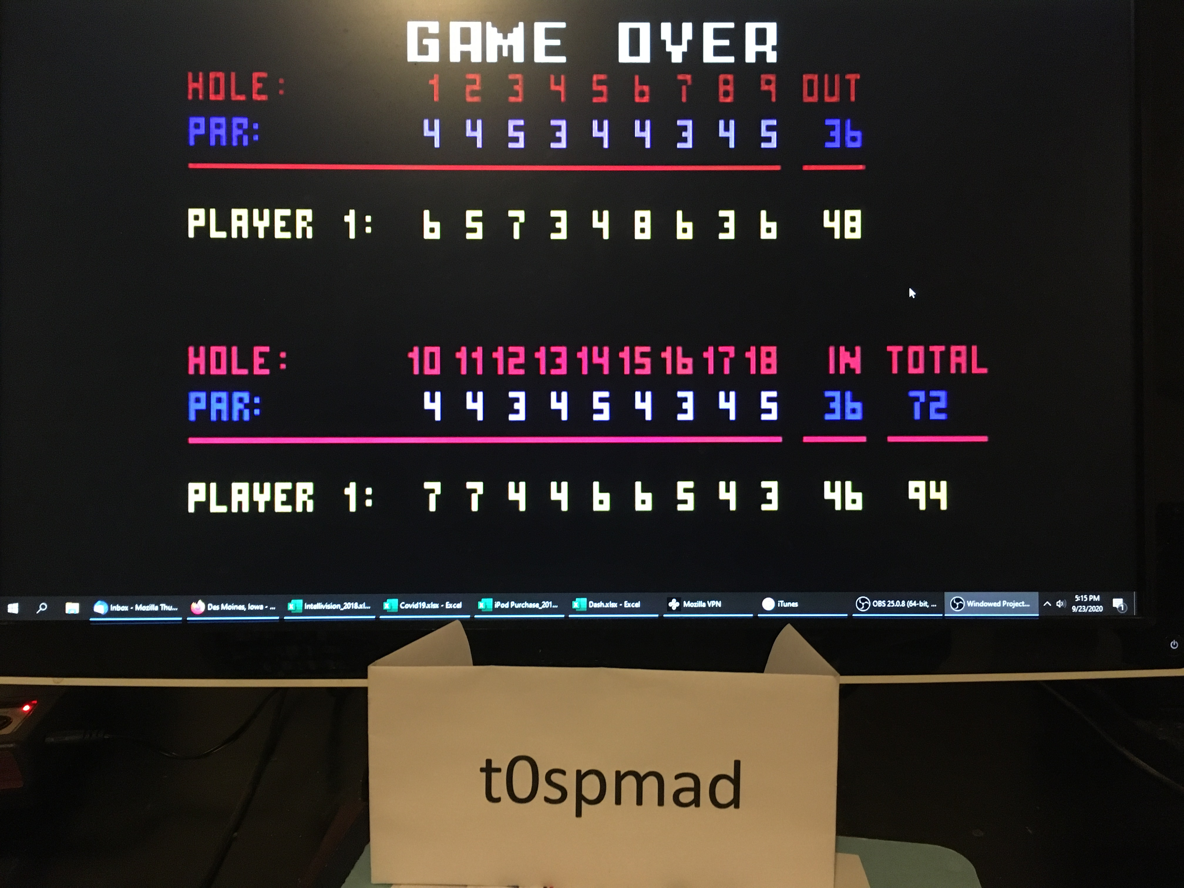 t0spmad: Chip Shot: Super Pro Golf [Classic Course: 18 Holes] (Intellivision Emulated) 94 points on 2020-09-23 17:36:28