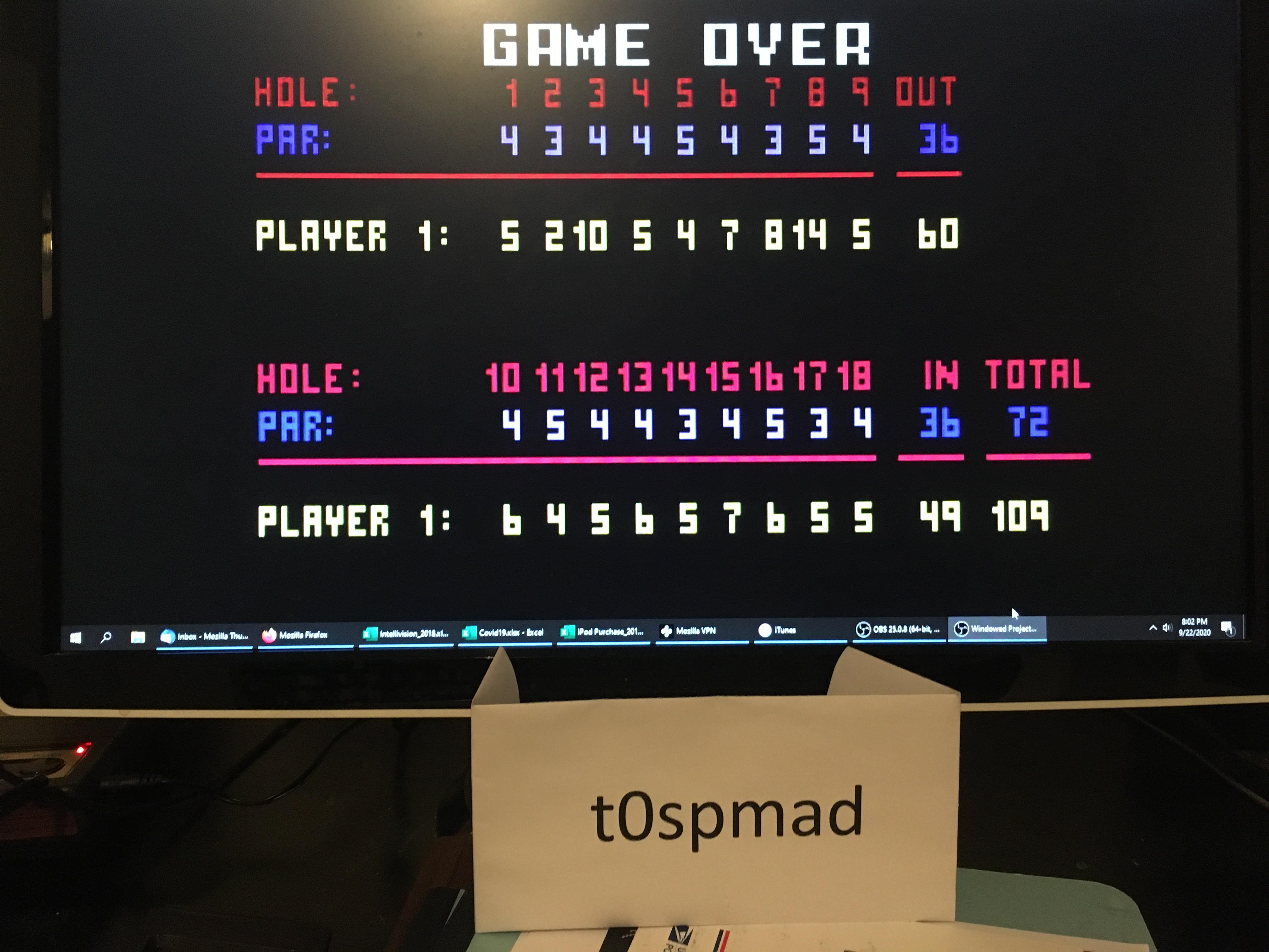 Chip Shot: Super Pro Golf [Invitational Open: 18 Holes] 109 points