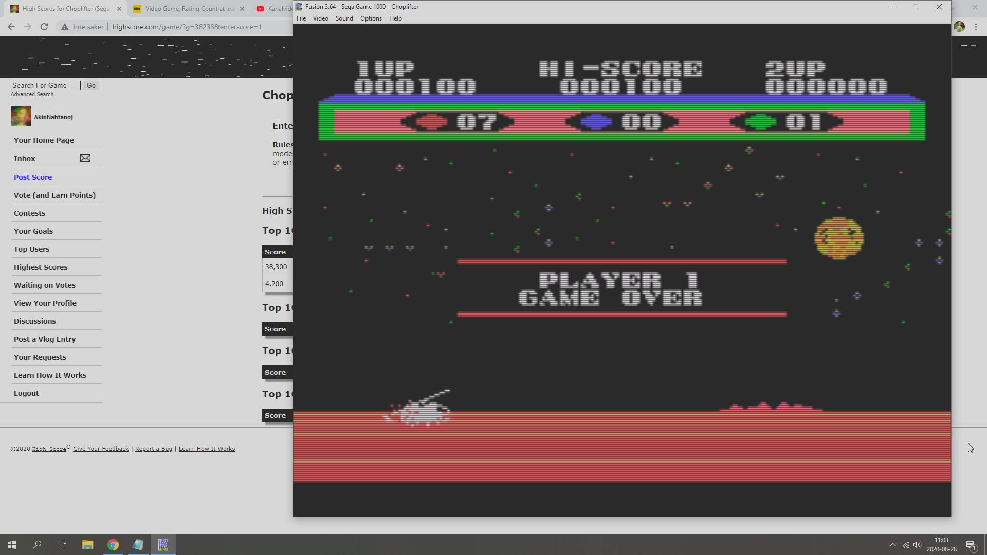 AkinNahtanoj: Choplifter (Sega SG-1000 Emulated) 100 points on 2020-08-28 04:07:02