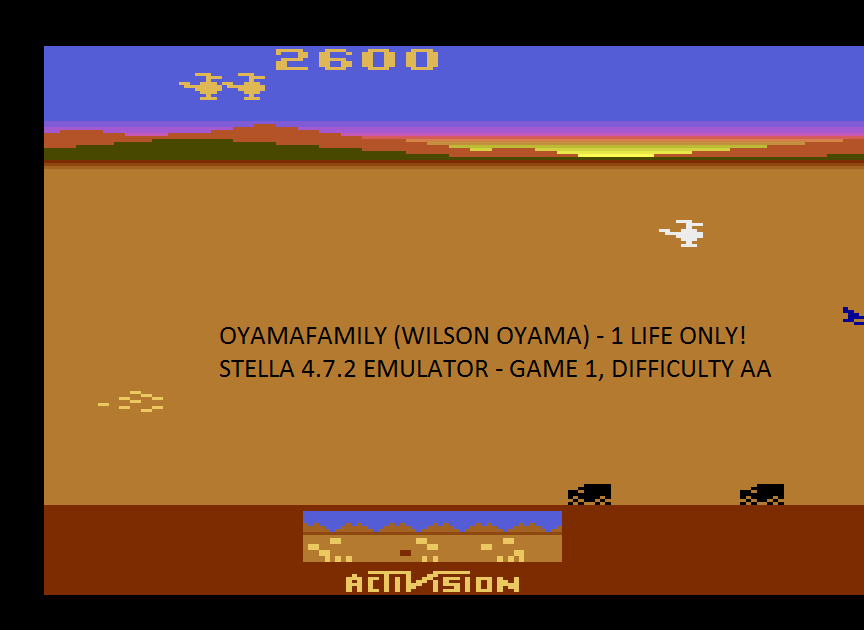 oyamafamily: Chopper Command [1 Life Only] (Atari 2600 Emulated Expert/A Mode) 2,600 points on 2017-01-24 18:04:30