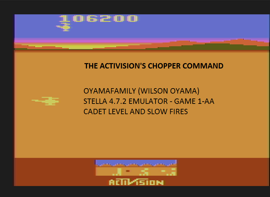 oyamafamily: Chopper Command (Atari 2600 Emulated Expert/A Mode) 106,200 points on 2016-06-26 13:25:18