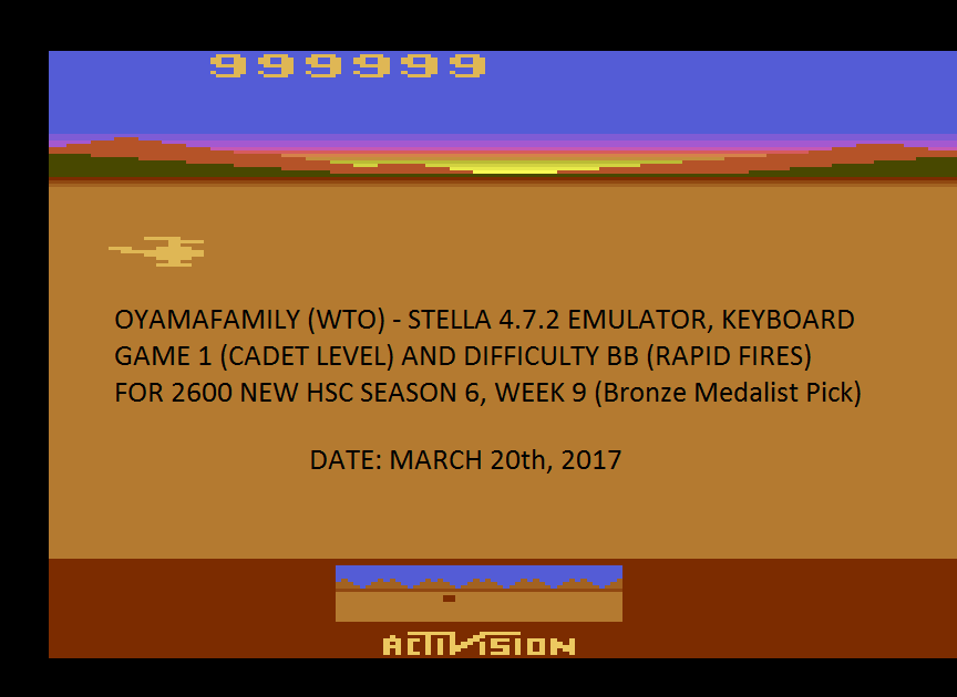 oyamafamily: Chopper Command (Atari 2600 Emulated Novice/B Mode) 999,999 points on 2017-04-16 18:48:42