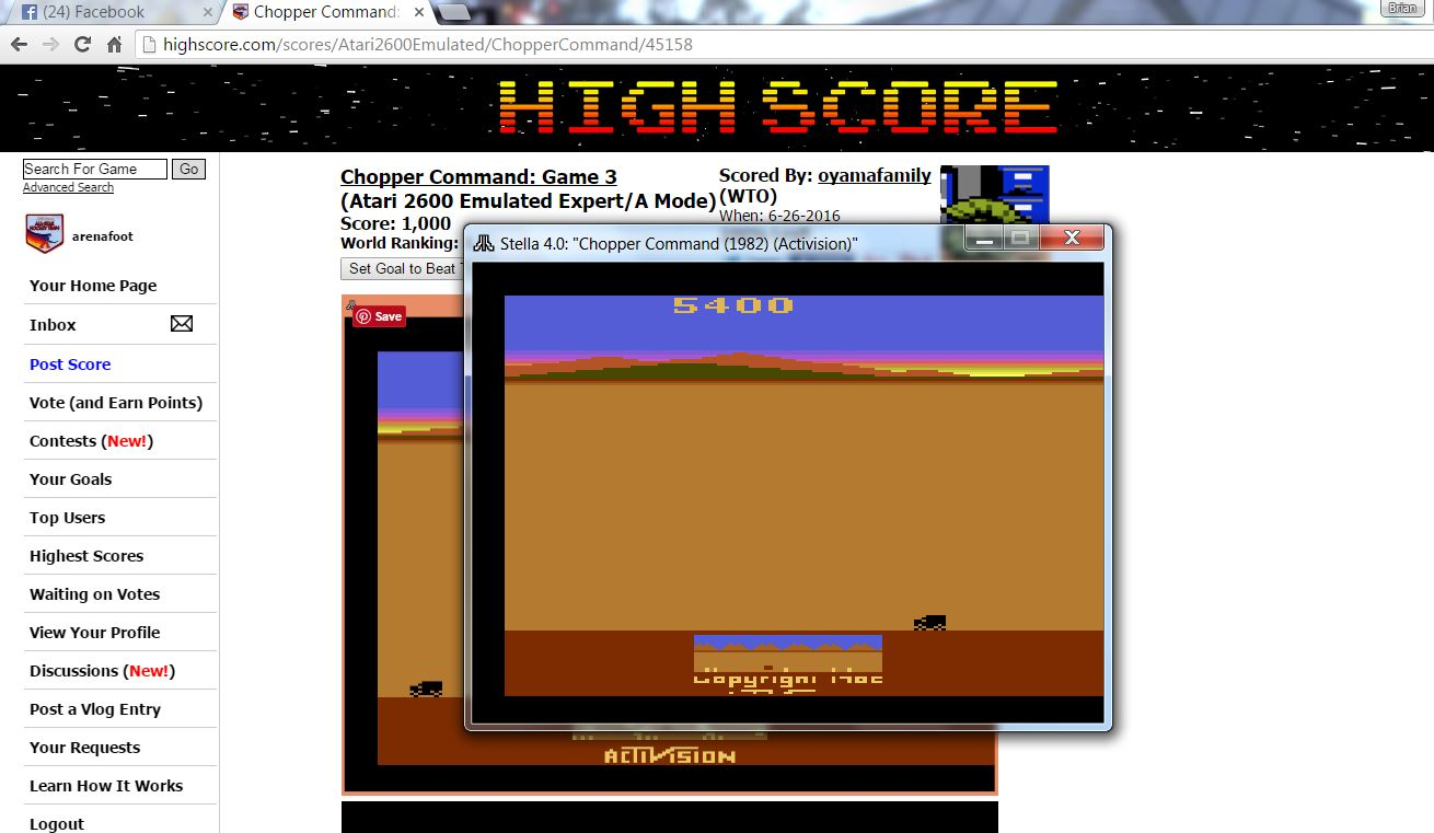 arenafoot: Chopper Command: Game 3 (Atari 2600 Emulated Expert/A Mode) 5,400 points on 2016-06-29 23:36:40