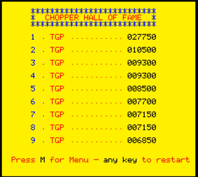 80sChips: Chopper (Oric-1 Emulated) 27,750 points on 2020-08-01 13:04:36