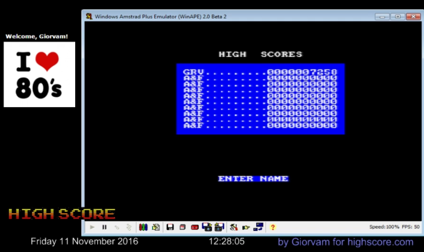 Giorvam: Chuckie Egg 2 (Amstrad CPC Emulated) 7,258 points on 2016-11-11 04:43:24