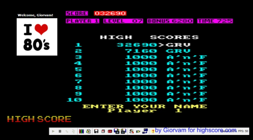 Giorvam: Chuckie Egg (Amstrad CPC Emulated) 32,690 points on 2016-11-20 11:47:59