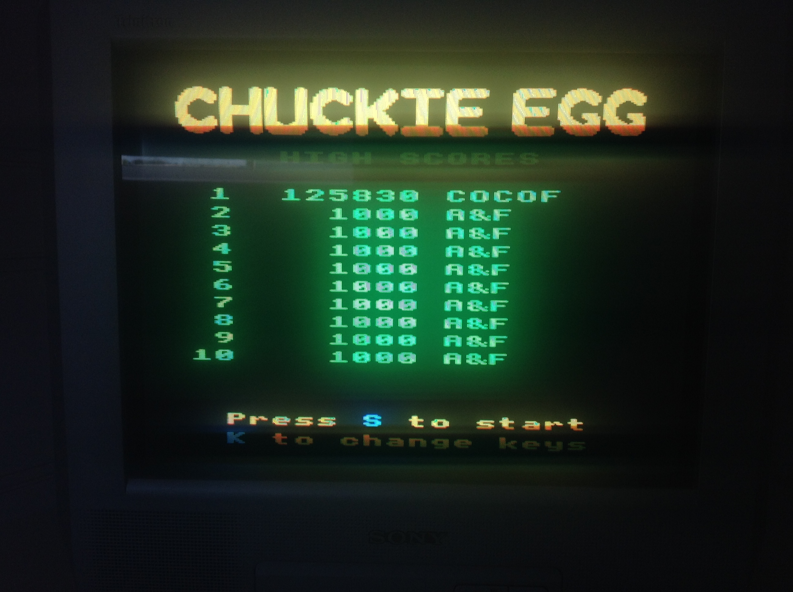 CoCoForest: Chuckie Egg (BBC Micro) 125,830 points on 2018-07-03 04:48:55