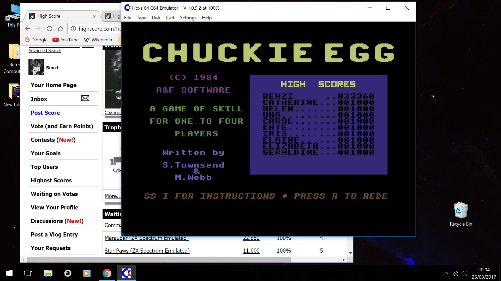 Benzi: Chuckie Egg: Speed 3 (Commodore 64 Emulated) 33,360 points on 2017-03-26 14:05:12