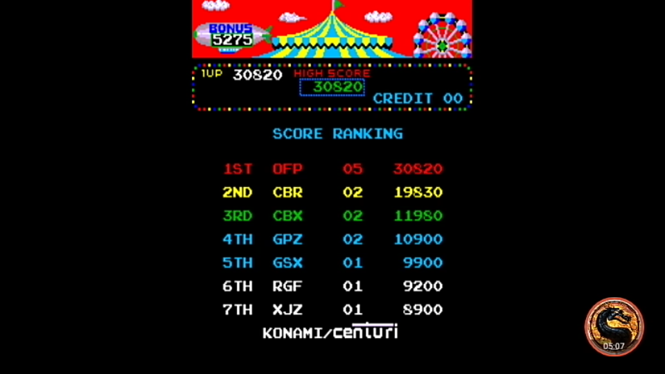 omargeddon: Circus Charlie [circusc] (Arcade Emulated / M.A.M.E.) 30,820 points on 2019-05-18 22:22:04