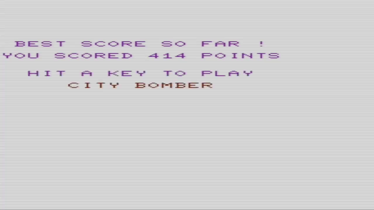 GTibel: City Bomber [Creative Software] (Commodore VIC-20 Emulated) 414 points on 2018-02-02 10:26:20