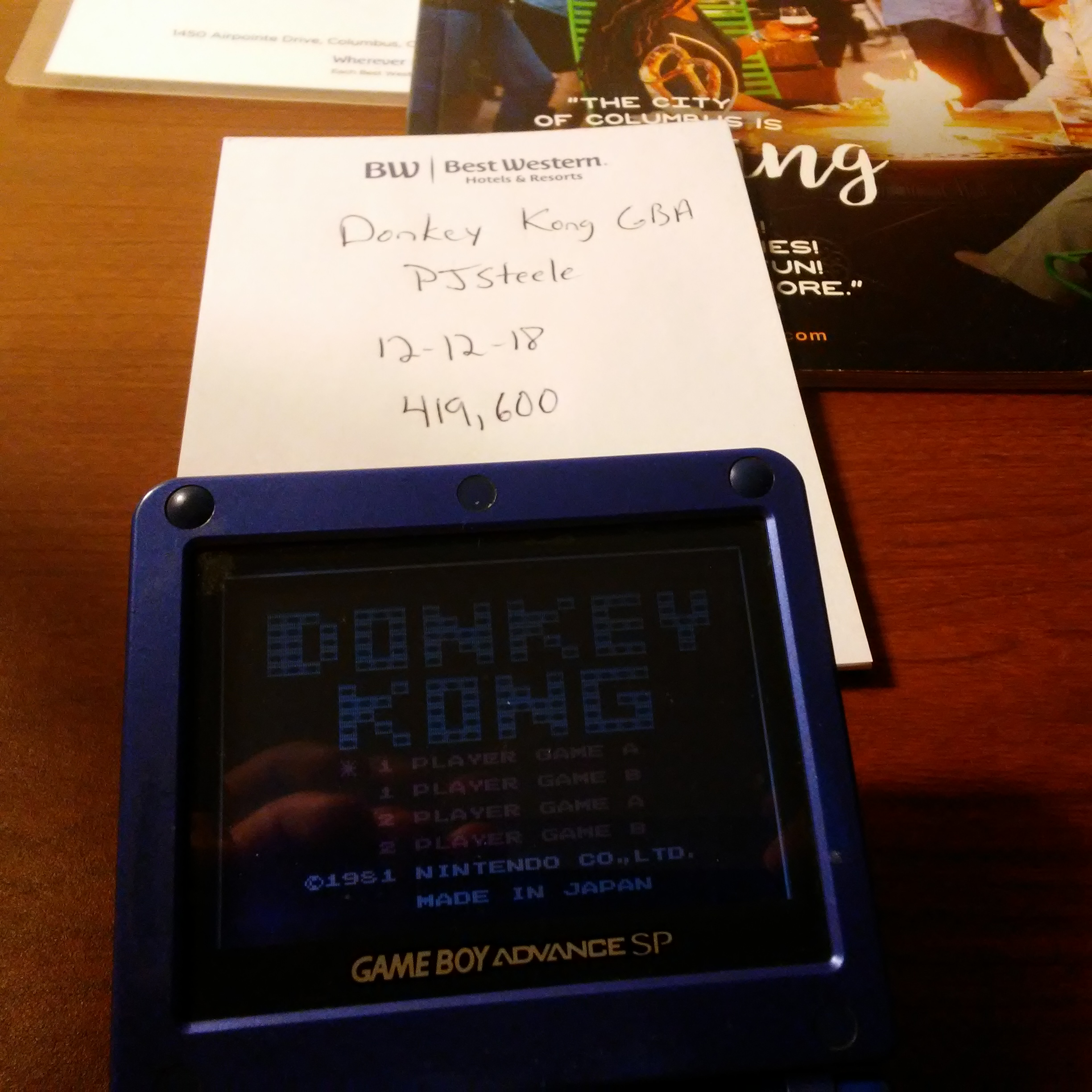 Pjsteele: Classic NES Series: Donkey Kong (GBA) 419,600 points on 2018-12-15 08:38:29