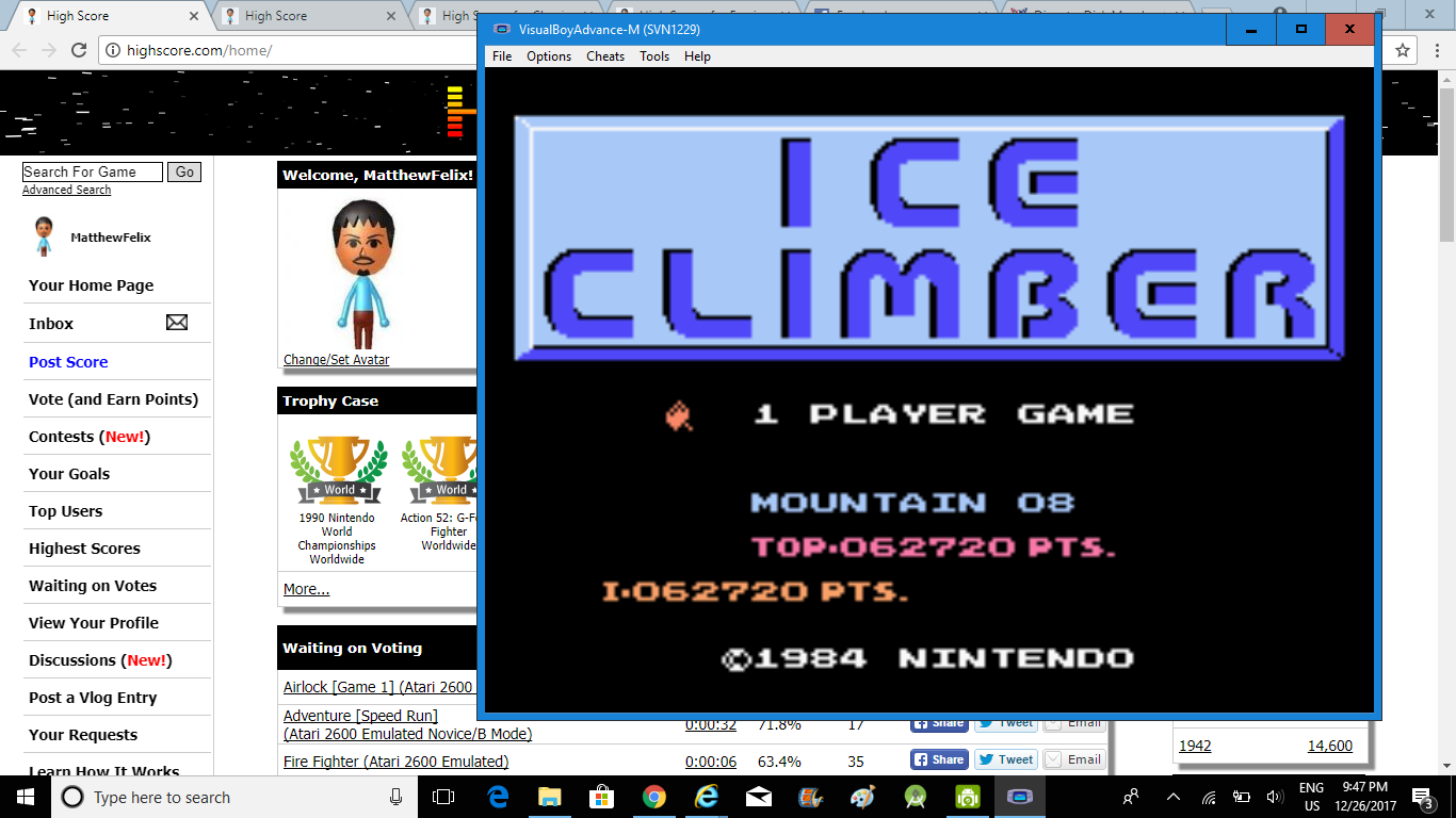 MatthewFelix: Classic NES Series: Ice Climber (GBA Emulated) 62,720 points on 2018-02-23 13:25:00