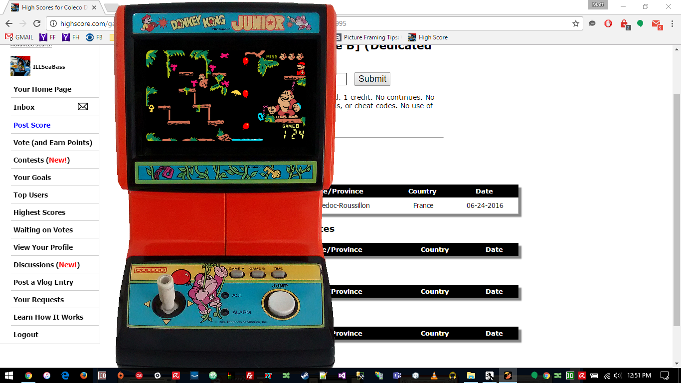 Coleco Donkey Kong Junior [Game B] 124 points