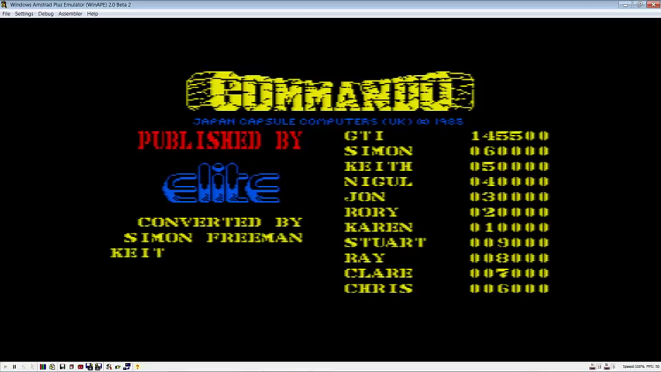 GTibel: Commando (Amstrad CPC Emulated) 145,500 points on 2016-06-27 13:21:31